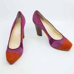"Calvin Klein ""Gabbey"" Suede Pink/Orange Pump - 7.5"